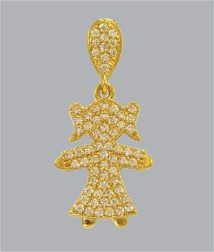 NEW 14K YELLOW GOLD CZ FANCY CHARM PENDANT GIRL