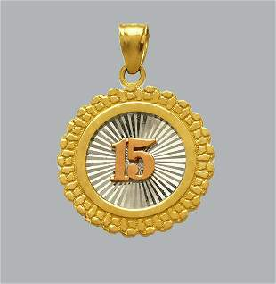NEW 14K TRI COLOR GOLD PENDANT / CHARM 15 ANOS NUGGET
