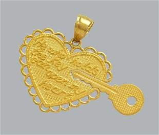 NEW 14K YELLOW GOLD PENDANT / CHARM TWO PIECE KEY HEART