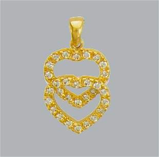 NEW 14K YELLOW GOLD CZ FANCY CHARM PENDANT DOUBLE HEART
