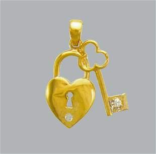 NEW 14K YELLOW GOLD LADIES FANCY CZ PENDANT LOCK & KEY