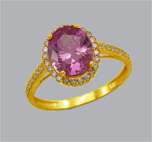 NEW 14K YELLOW GOLD LADIES CZ RING OVAL PINK HALO
