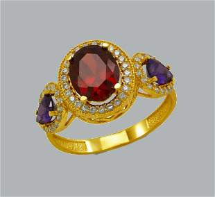 NEW 14K YELLOW GOLD LADIES CZ RING OVAL COCKTAIL RING