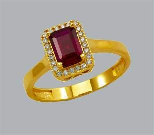 NEW 14K YELLOW GOLD CZ RING EMERALD CUT HALO RING