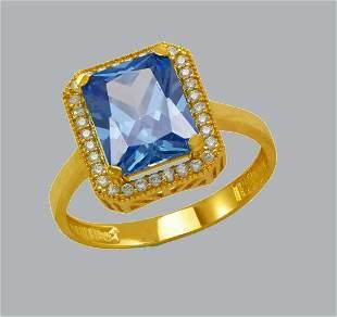 14K YELLOW GOLD CZ RING EMERALD CUT BLUE HALO RING