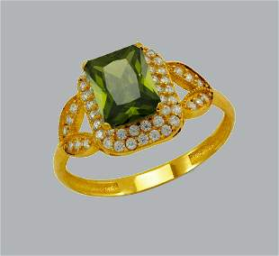 14K YELLOW GOLD CZ RING EMERALD CUT DOUBLE HALO RING