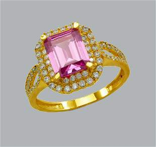 14K YELLOW GOLD CZ RING EMERALD CUT PINK HALO RING
