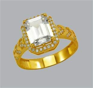 NEW 14K YELLOW GOLD LADIES CZ RING EMERALD CUT RING