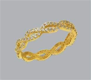 14K YELLOW GOLD FULL ETERNITY CZ BAND RING SIZE 6