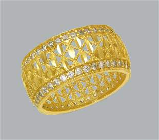 14K YELLOW GOLD ETERNITY CZ BAND COCKTAIL RING SIZE 6