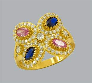 NEW 14K YELLOW GOLD LADIES CZ COCKTAIL RING BLUE PINK
