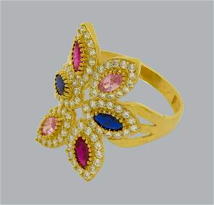14K YELLOW GOLD CZ COCKTAIL RING BLUE PINK MARQUISE