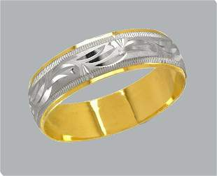 NEW 14K TWO TONE GOLD WEDDING BAND RING 6mm SIZE 6