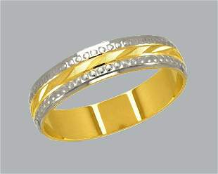 NEW 14K TWO TONE GOLD WEDDING BAND RING 5mm SIZE 6