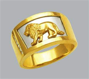NEW 14K TWO TONE GOLD MENS CZ RING SIGNET LION