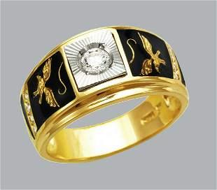 NEW 14K TWO TONE GOLD MENS CZ RING SIGNET ENAMEL EAGLE