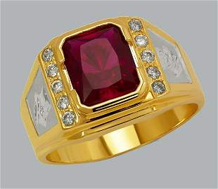 14K TWO TONE GOLD MENS RING SIGNET RED CZ EMERALD CUT