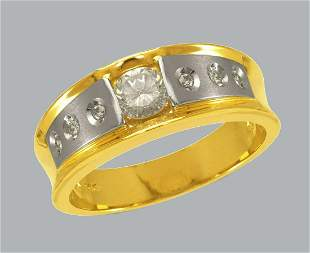 NEW 14K TWO TONE GOLD MEN'S FANCY CZ RING BAND