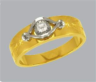 NEW 14K TWO TONE GOLD MENS FANCY CZ RING BAND