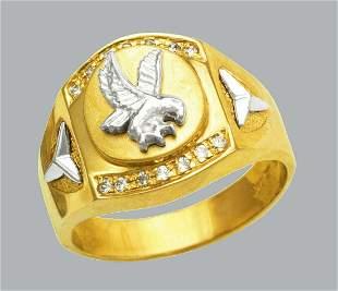 NEW 14K TWO TONE GOLD MEN'S CZ RING SIGNET FANCY EAGLE