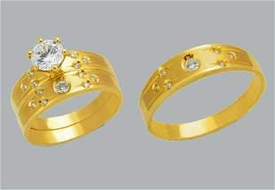 14K GOLD TRIO WEDDING SET CZ ENGAGEMENT RING BANDS