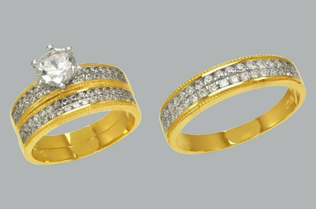 14K GOLD TRIO WEDDING SET CZ ENGAGEMENT RING BANDS 3pcs