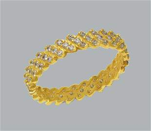 NEW 14K YELLOW GOLD FULL ETERNITY CZ BAND RING SIZE 8