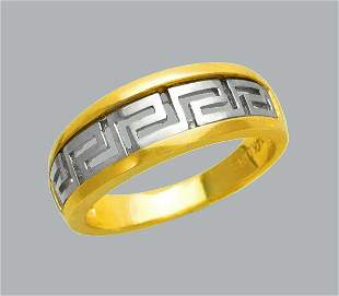 NEW 14K TWO TONE GOLD LADIES RING BAND GREEK KEY