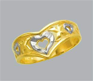 NEW 14K TWO TONE GOLD LADIES RING FILIGREE HEART