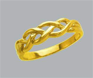 NEW 14K YELLOW GOLD LADIES RING BAND WOVEN ROPE