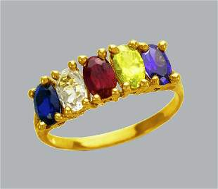 NEW 14K YELLOW GOLD LADIES COLORED CZ RING OVAL