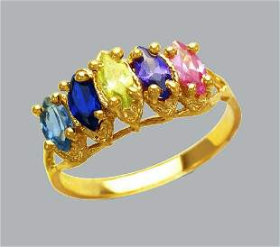 NEW 14K YELLOW GOLD LADIES COLORED CZ RING MARQUISE