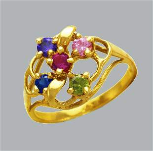 NEW 14K YELLOW GOLD LADIES COLORED CZ RING