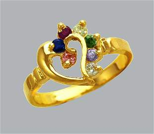 NEW 14K YELLOW GOLD LADIES COLORED CZ RING HEART