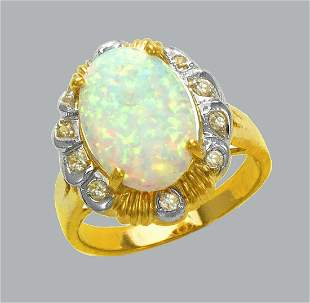 NEW 14K TWO TONE GOLD LADIES CZ OPAL COCKTAIL RING