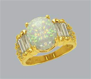NEW 14K YELLOW GOLD LADIES CZ OPAL COCKTAIL RING