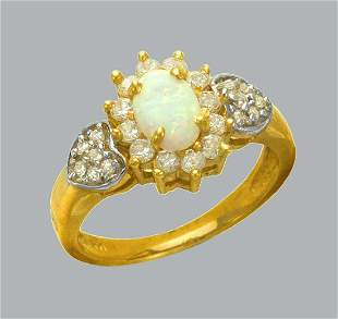 14K TWO TONE GOLD LADIES CZ OPAL COCKTAIL RING HEARTS