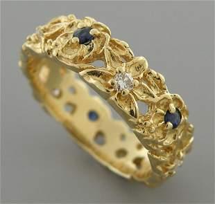 VINTAGE 14K GOLD DIAMOND SAPPHIRE RING WEDDING BAND