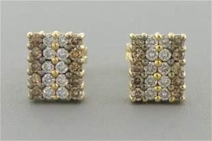 14K YELLOW GOLD CHAMPAGNE & CLEAR DIAMOND STUD EARRINGS