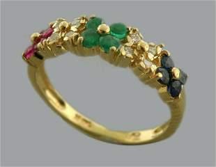 14K YELLOW GOLD DIAMOND RUBY EMERALD SAPPHIRE RING