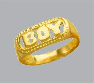 NEW 14K YELLOW GOLD CZ KIDS CHILD BABY RING BOY