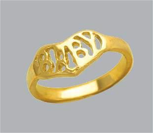 NEW 14K YELLOW GOLD CZ KIDS CHILD BABY RING
