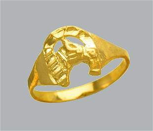 NEW 14K YELLOW GOLD CZ KIDS CHILD BABY RING HORSESHOE