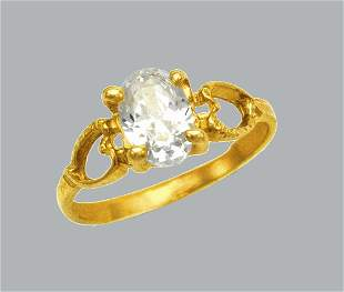 NEW 14K YELLOW GOLD CZ KIDS CHILD BABY RING OVAL