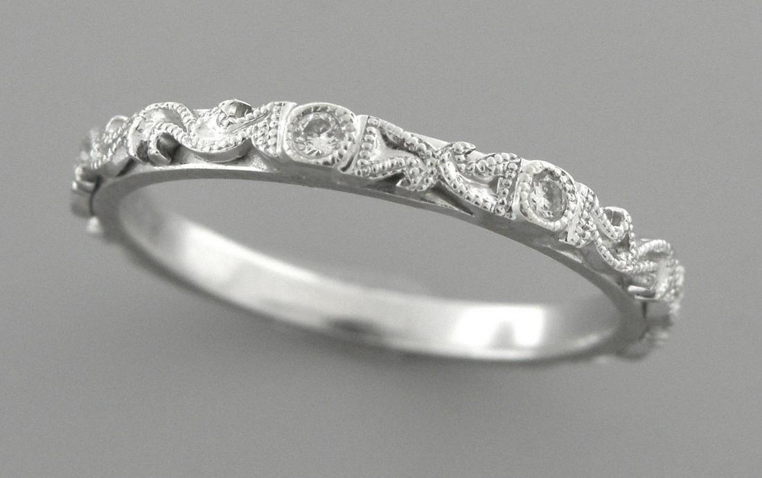 14K W/ GOLD LADIES DIAMOND RING FILIGREE WEDDING BAND