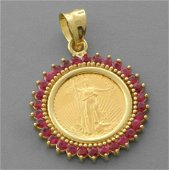 1/10 oz GOLD AMERICAN EAGLE COIN 14K GOLD RUBY PENDANT