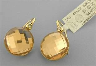 NEW ROBERTO COIN 18K ROSE GOLD DIAMOND QUARTZ EARRINGS