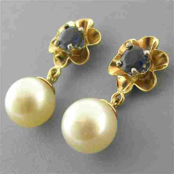 DECO 14K YELLOW GOLD BLUE SAPPHIRE SEA PEARL EARRINGS
