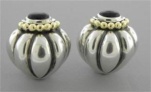 LAGOS CAVIAR 18K GOLD STERLING SILVER LARGE EARRINGS
