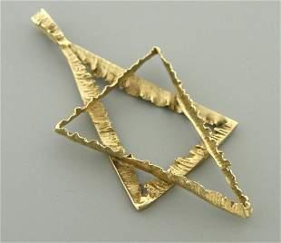 ANTIQUE 14K YELLOW GOLD UNIQUE STAR OF DAVID PENDANT